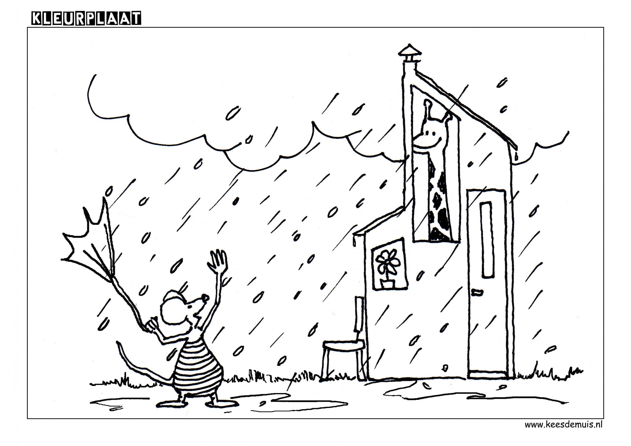 Kleurplaat Giraf regen wolken huis | Kees de Muis