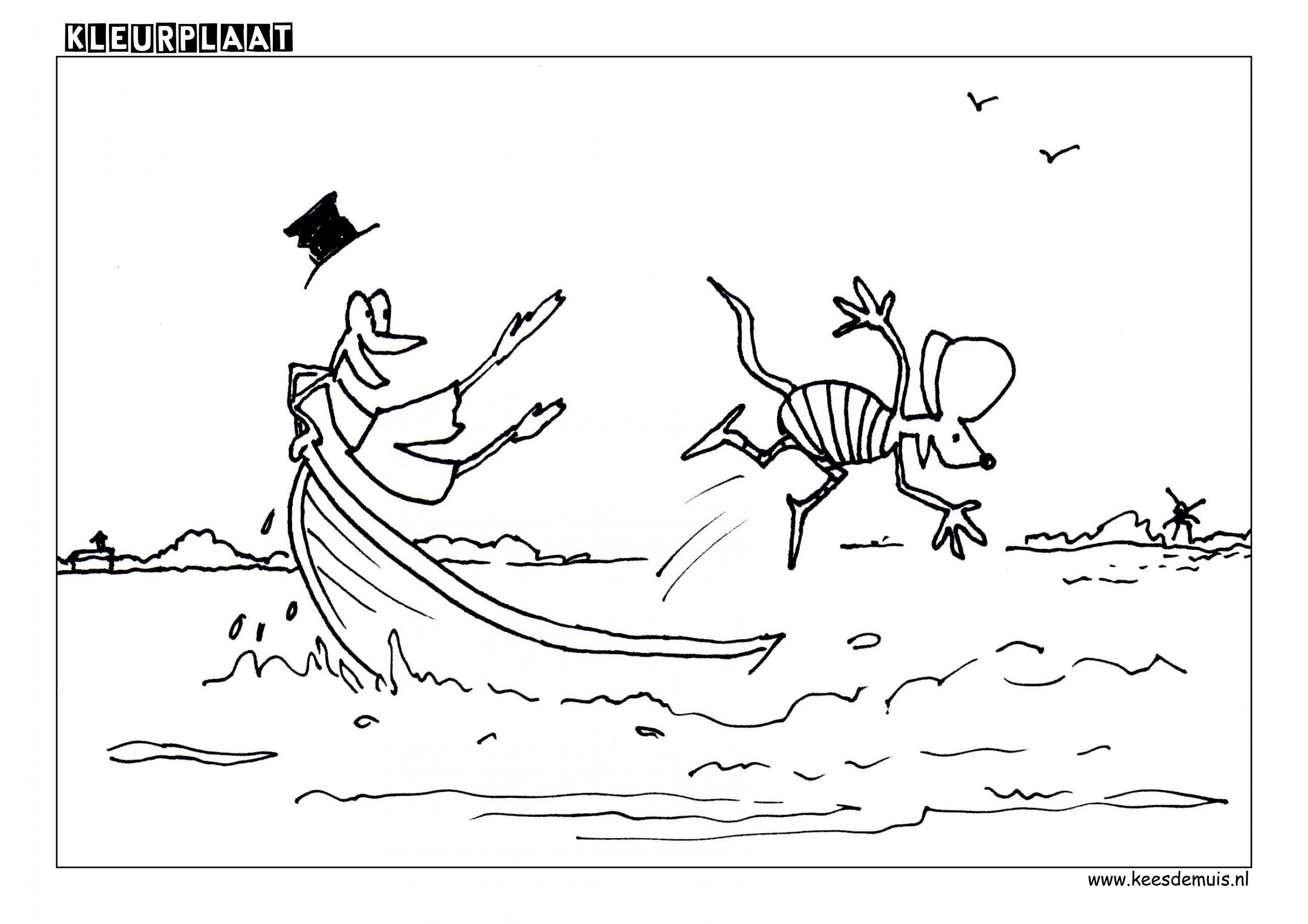 Kleurplaat Kikker muis zwemmen boot | Kees de Muis